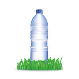 Water bottle and grass isolated on white Stock Images