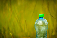 Water bottle on green grass with copy space. Stock Photography