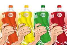 Water Bottle in hand. Vector illustration -  Created with adobe illustrator. background, are Created separately Stock Images