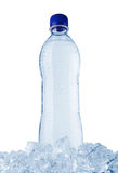Water bottle in ice stock image