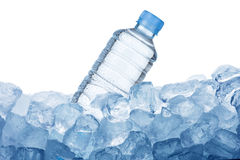 Water Bottle on Ice Cube Royalty Free Stock Images