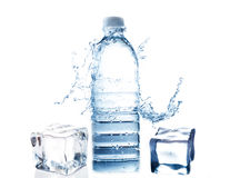 Water Bottle and Ice Cube Stock Image