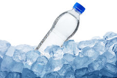 Water Bottle on Ice Cube Royalty Free Stock Image