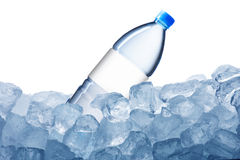 Water Bottle and Ice Cube Royalty Free Stock Photos