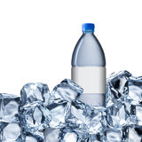 Water Bottle and Ice Cubes Stock Image