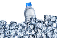 Water Bottle and Ice Cubes Stock Images