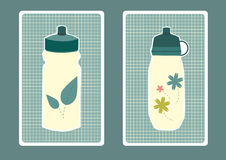 Water bottle japanese style, illustrations Royalty Free Stock Photography