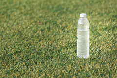 Water bottle. Leave on green yard by player between football competition Royalty Free Stock Photos