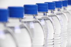 Water bottle lids blurred Royalty Free Stock Images