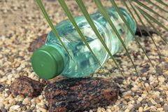 A water bottle is lying on a stone beach in the shade of a fern. Sea sand nature blue ocean plastic summer drink sun coast sky concept background cold beverage royalty free stock photography
