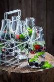 Water in bottle with raspberries, blueberries and blackberries Stock Photography