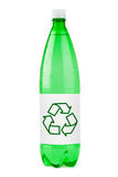 Water bottle with recycling sign Stock Photo