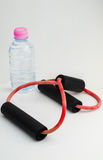water bottle and resistance band Stock Photography
