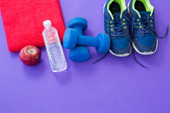 Water bottle, towel, apple, dumbbells and sneakers Stock Image