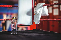 Water bottle and a towel in boxing ring Stock Photo