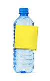Water bottle with yellow note Stock Photos