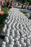 Water Bottles. Endless rows of water bottles at the end of a race Royalty Free Stock Images