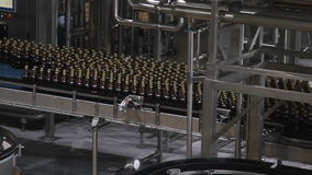 Water bottles on conveyor or water bottling machine stock video