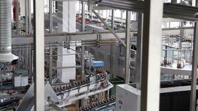 Water bottles on conveyor or water bottling stock footage