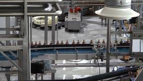 Water bottles on conveyor or water bottling stock video