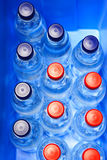 Water Bottles in Cooling Box. A lot of water bottles with red and blue caps placed in a cooling box. Suitable for camping, outing, picnic, etc. projects Royalty Free Stock Photography