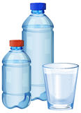 Water bottles and glass with drinking water. Illustration royalty free illustration