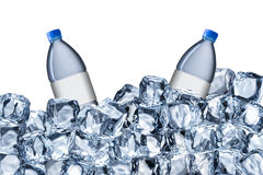 Water Bottles and Ice Cubes Royalty Free Stock Photo