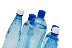 Water bottles isolated. On the white background Royalty Free Stock Image