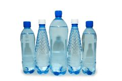 Water bottles isolated. On the white background Royalty Free Stock Photography