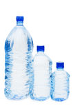 Water bottles isolated over white. Water bottles isolated on the white background Royalty Free Stock Photos
