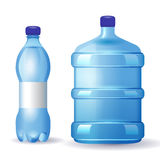 Water bottles. 2 water bottles over white background Royalty Free Stock Photos
