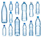 Water bottles. Plastic water bottles set isolated on white background Royalty Free Stock Photos