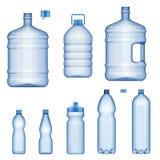 Water bottles, realistic plastic liquid containers. Plastic water bottles, realistic 3D mockup model set. Vector isolated transparent liquid containers, sport vector illustration