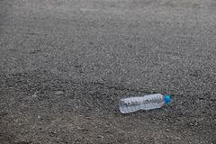 Water bottles were left on the street. Royalty Free Stock Photography