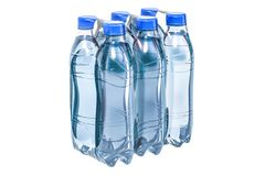 Water bottles wrapped in the shrink film, 3D rendering. Isolated on white background Stock Photos