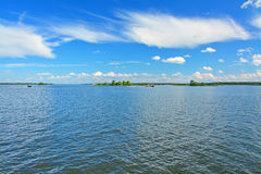 Water boundless open spaces in Ivankovskoye Reservoir near Konakovo city Stock Photography