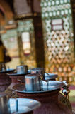 Water bowl with cup in asia. At a temple, Mandalay Burma Myanmar Stock Photo