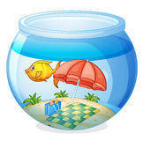 A water bowl and a fish stock illustration