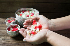 Water in bowl mixed with perfume and flowers corolla for Songkran festival in Thailand. royalty free stock image
