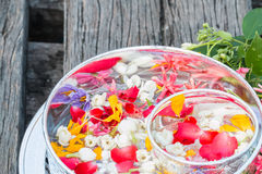 Water in bowl mixed with perfume and flowers. Royalty Free Stock Photography