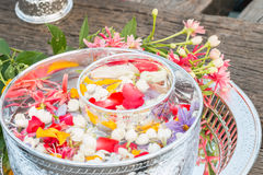 Water in bowl mixed with perfume and flowers. Stock Image