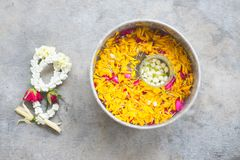 Water in bowl mixed with perfume for Songkran festival in Thaila. Water in bowl mixed with perfume and flowers corolla for Songkran festival in Thailand Stock Image