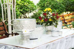 Water bowl prepared for Songkran festival. Thailand stock photography