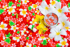 Water in bowl Songkran festival in Thailand. Water in bowl with many flower, Songkran festival in Thailand Royalty Free Stock Photos
