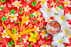 Water in bowl Songkran festival in Thailand. Water in bowl with many flower, Songkran festival in Thailand Royalty Free Stock Photography