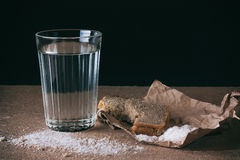 Water and bread, salt. Royalty Free Stock Image