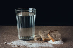 Water and bread, salt. Stock Images