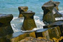 Water break. A water break with the idyllic scene of the Black Sea behind it Stock Image