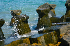 Water break. A water break with the idyllic scene of the Black Sea behind it Stock Photography