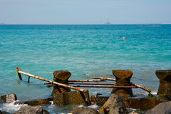 Water break. A water break with the idyllic scene of the Black Sea behind it Stock Images